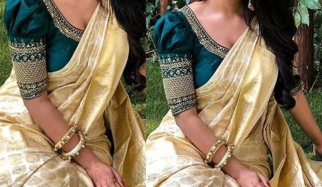 Onam 2020 : Nabha Natesh in a gold kanjeevaram saree