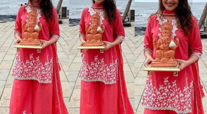 Pragya Jaiswal in pink gharara by mulmul!
