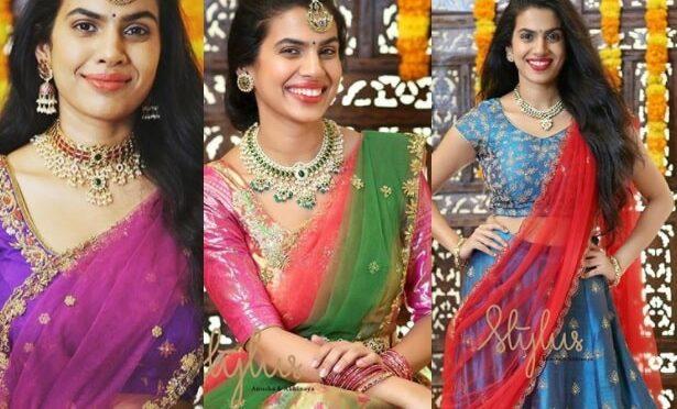 Singer Sravana bhargavi looks stunning in half saree !
