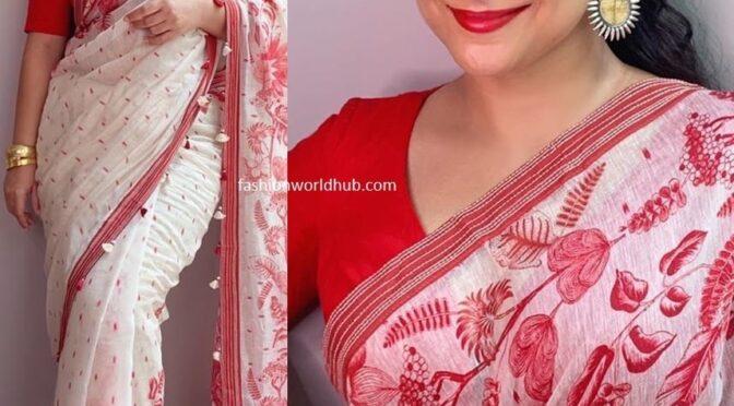 Vidya Balan in a printed linen saree by saundh!