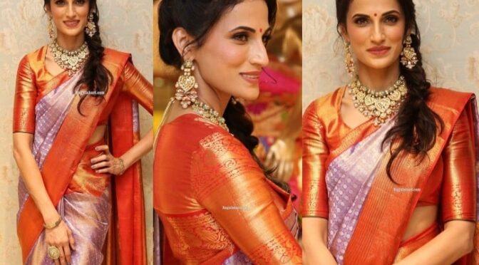 Shilpa Reddy in Lavender kanjeevaram saree!