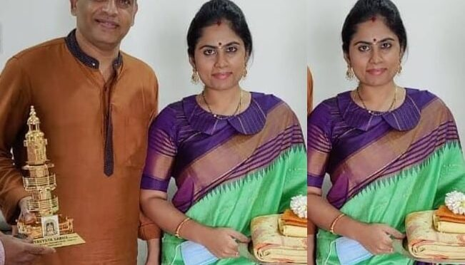 Dilraju wife Vygha reddy in a green silk saree!