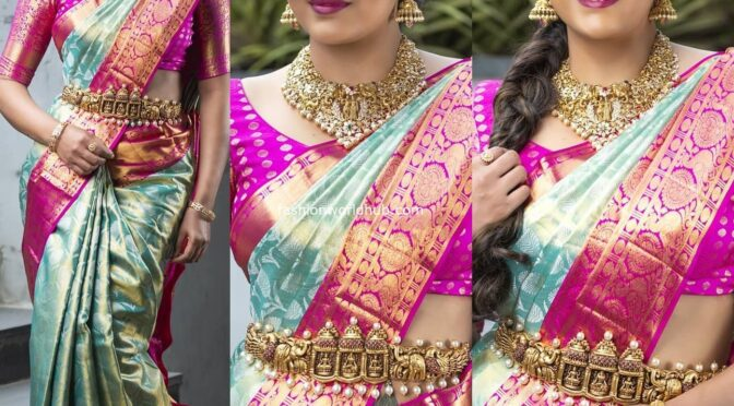 Himaja in a blue kanjeevaram saree by Mugdha art studio!