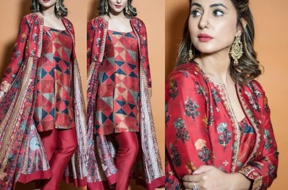 Hina khan printed suit from Drishti & Zahabia is perfect festive outfit!