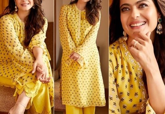 Kajol looks in a yellow floral printed kurta set!