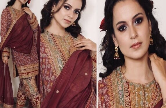 Kangana Ranaut in mauve kurta at her brother's Haldi ceremony!