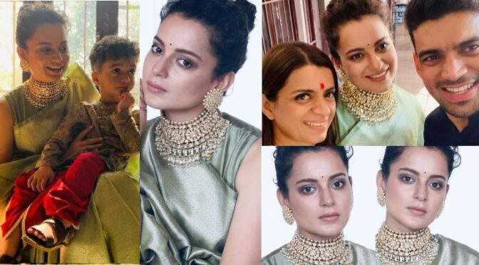 Kangana Ranaut looks stunning in a kanjeevaram at her brother Aksht's pre-wedding!