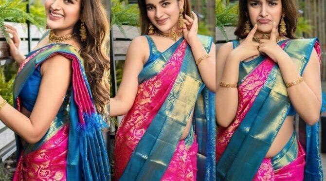 Niddhi agerwal stuns in a Pink kanjeevaram saree!