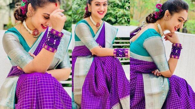 Pritha hari in a purple silk saree!