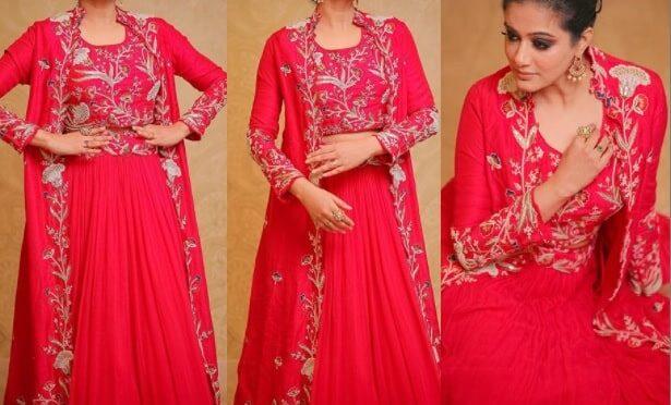 Priyamani stunning looks in Red jacket lehenga!