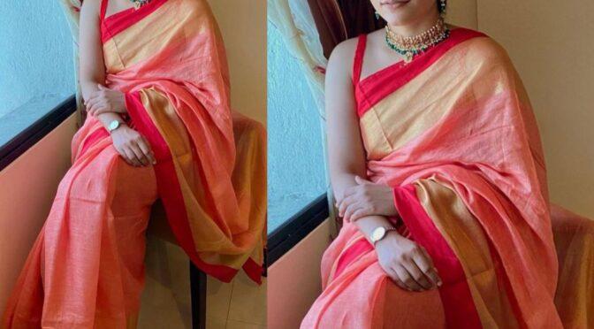 Dussehra 2020 : Punarnavi Bhupalam in a linen saree