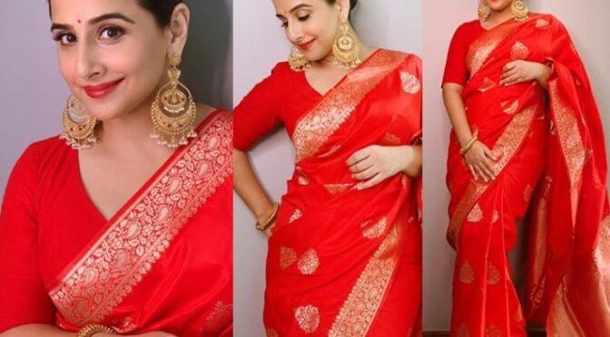 Vidya balan stuns in a red silk saree