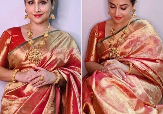 2020 Navaratri : Vidya balan stuns in traditional kanjeevaram saree!