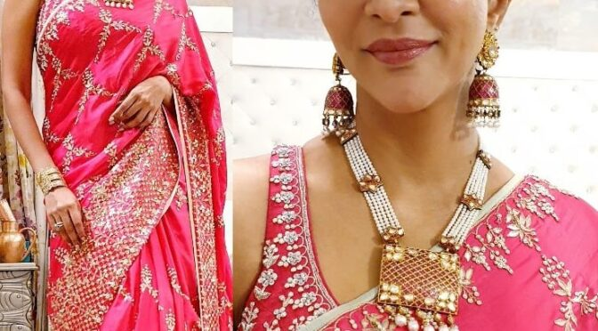 Lakshmi Manchu attended a wedding wearing a Pink saree by Anita dongre!