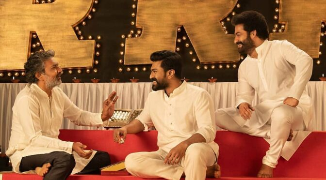 Raja mouli,Ramcharan & Jr.NTR Celebrates Diwali bash on sets of #RRR!