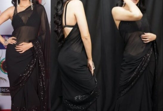Shruti Haasan looking gorgeous in Shantanu & Nikhil black saree!