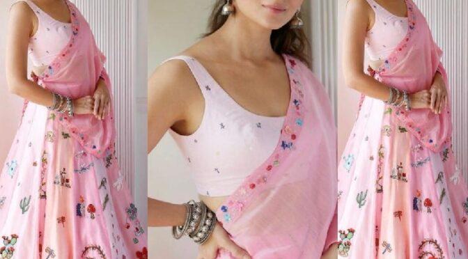 Diwali 2020 : Alia bhatt looking pretty in pink lehenga by Madhuraya