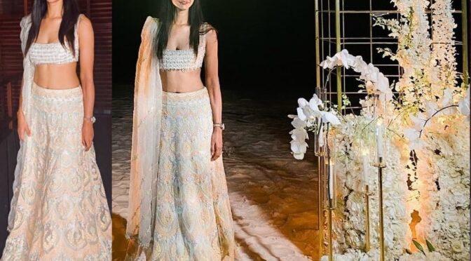 Allu Sneha reddy looking stunning in Mansih Malhotra lehenga at her friends wedding in Maldives!
