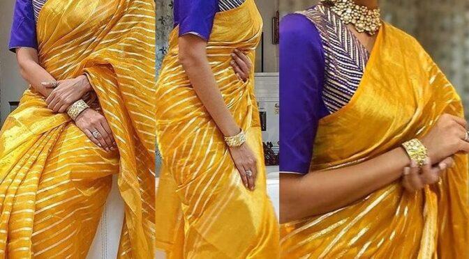 Lakshmi manchu stuns in yellow chanderi silk saree from Rawmango!