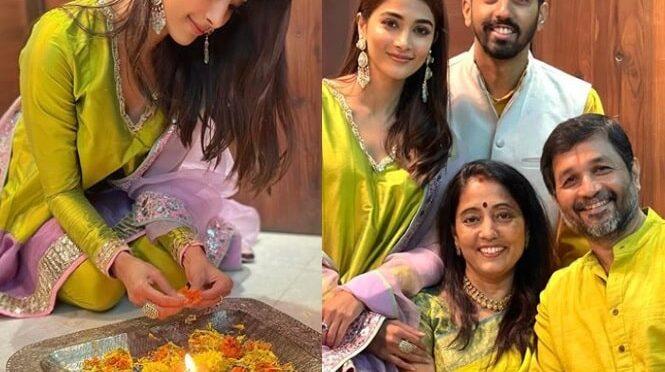 Pooja Hegde family Diwali festival celebration photos!