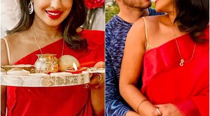 Priyanka Chopra celebrates karwa chauth in a Red saree!