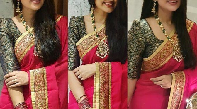 Actress Sneha prasanna Stuns in pink saree by Geetu haute couture