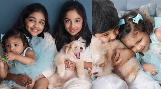 Vishnu manchu kids looking adorable in Matching outfits!