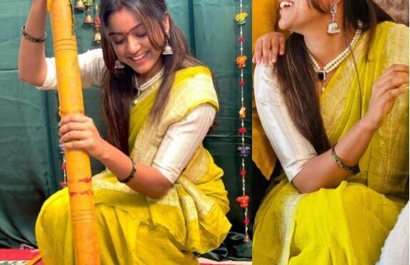 Vithika sheru looking beautiful in a silk saree!