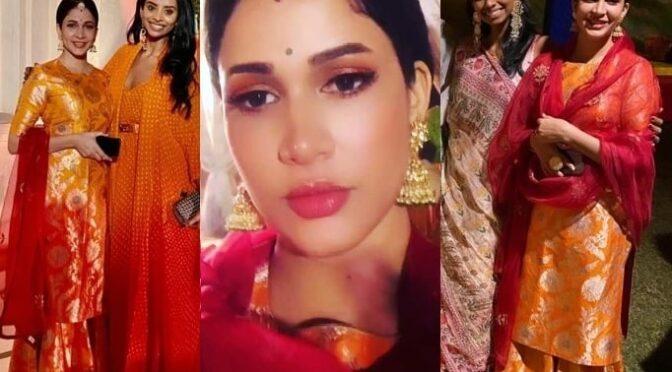 Lavanya Tripathi in Raw Mango kurta set at Niharika Konidela's Mehndi function!