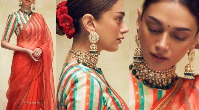 Aditi Rao Hydari in a red saree from the label Raw Mango!