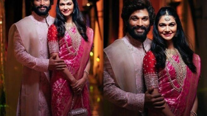 Allu Arjun and Sneha reddy looking adorable at Niharika wedding!