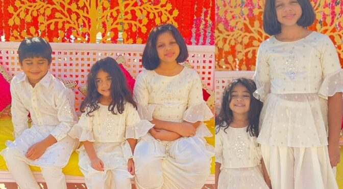 Allu family kids looking cute in matching outfits at Niharika's Haldi ceremony!