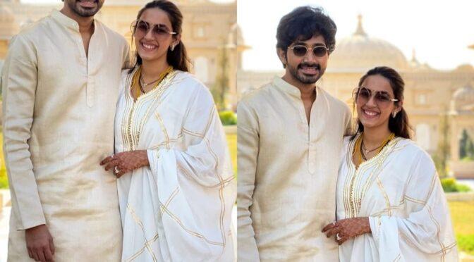 Here is the first look of Niharika konidela and Chaitanya post wedding!