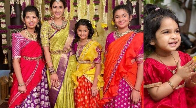Chiranjeevi grand daughters in Traditional lehenga at Niharika pellikuthuru function!