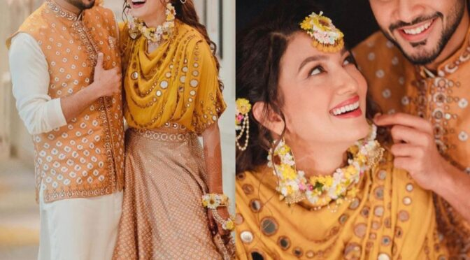 Gauahar Khan looking radiant in Yellow outfit on her haldi ceremony!