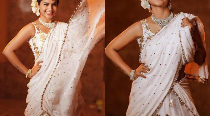 Madhumitha Siva Balaji stunning in traditional white Lehenga!