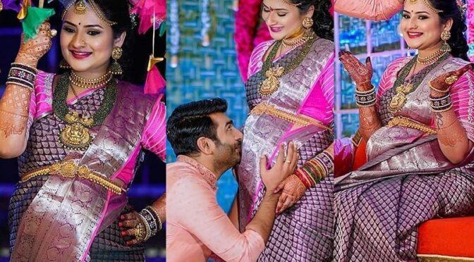 TV Actress Manasa charan looking like a diva in a purple kanjeevaram saree!