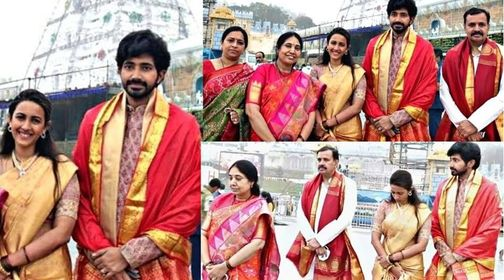 Niharika Konidela and Chaitanya visits Tirumala wearing Traditional outfits!