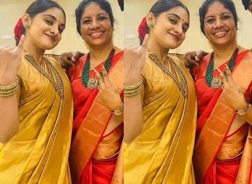 Nivetha thomas and her mother in Traditional saree!
