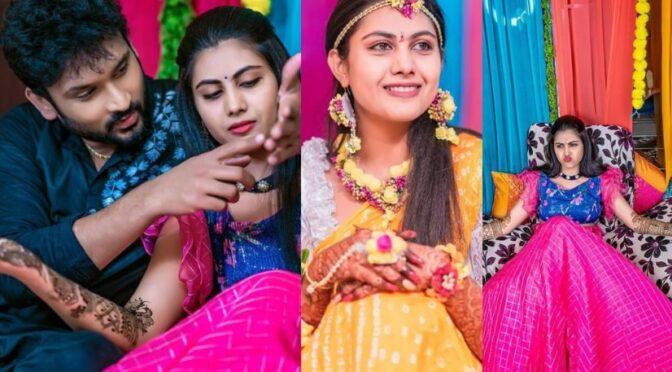 Vadinamma serial TV Actress Priyanka Naidu Haldi and Mehendi Function photos!