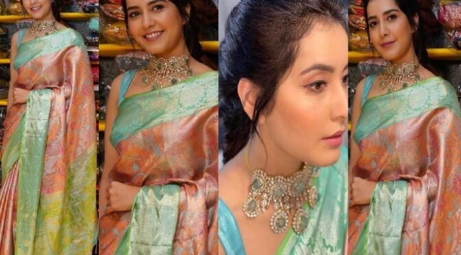 Raashi Khanna striking appearance in a beautiful kanjeevaram saree!