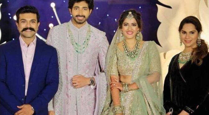 Ramcharan and upasana at Niharika wedding reception!