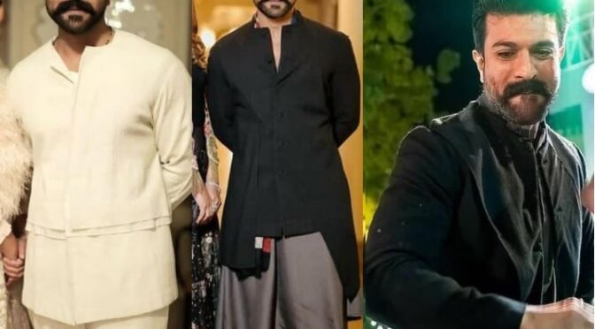 Ramcharan in Antar-Agni Outfits At Niharika's Sangeet and Mehendi function event!