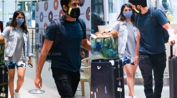 Samantha and Naga Chaitanya in casual outfits and are back to Hyderabad from Maldives!