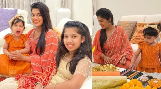 Sreeja Kalyan and her daughters looking adorable in traditional outfits!
