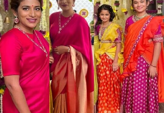 Sushmita Konidela and her daughters in traditional outfits for Niharika pellikuturu function!