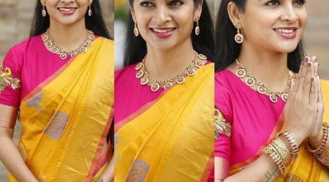 Madhumitha Siva Balaji in a yellow kanjeevaram saree!