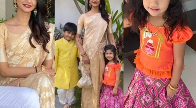 Allu SnehaReddy and her kids in Traditional outfits for Sankranthi celebrations!
