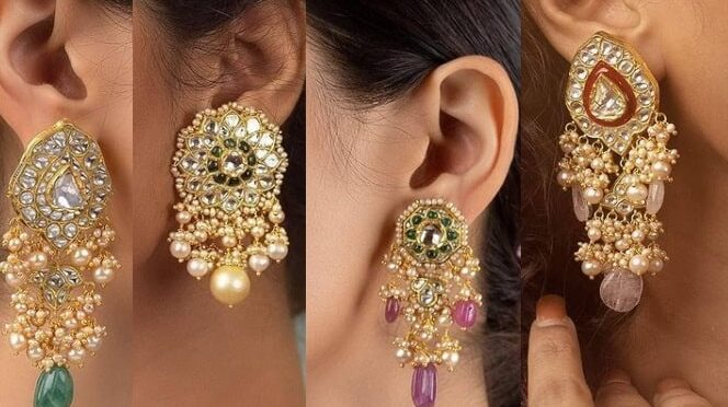 Beautiful Polki diamond and kundan ear ring collections from Tyaani Fine Jewellery!