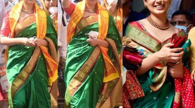 Kangana in a traditional green silk saree at Siddhivinayak temple!